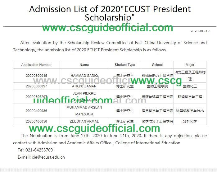 ecust university president scholarship results 2020