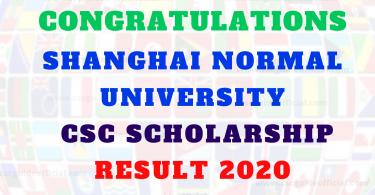 shanghai normal university csc result 2020