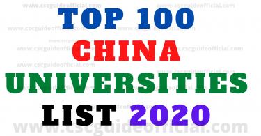 top china 100 universities list 2020