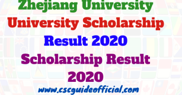 Zhejiang University Scholarship result 2020