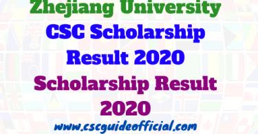 zhejiang university csc scholarship results 2020