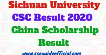 Sichuan University CSC Result 2020