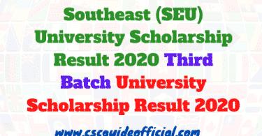 southeast university scholarship result 2020