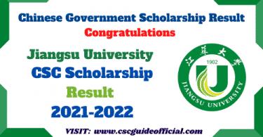 jiangsu university csc scholarship result 2021