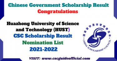 Hust University CSC Result 2021 2022