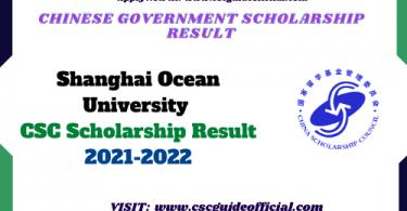 Shanghai Ocean University CSC Scholarship Result 2021-2022