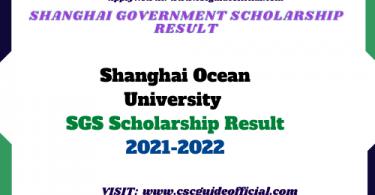 Shanghai Ocean University Shanghai Government Scholarship Result 2021-2022