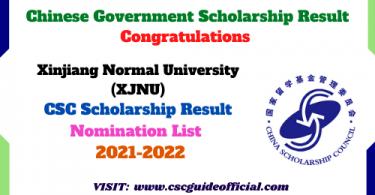 Xinjiang Normal University csc scholarship result 2021 2022