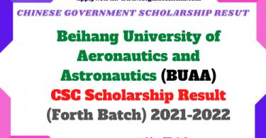Beihang University of Aeronautics and Astronautics (BUAA) CSC Scholarship Result