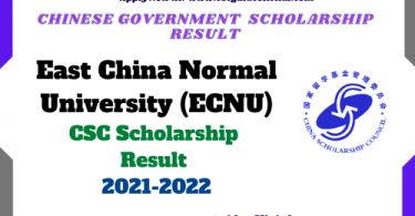 ECNU CSC Scholarship result 2021 2022