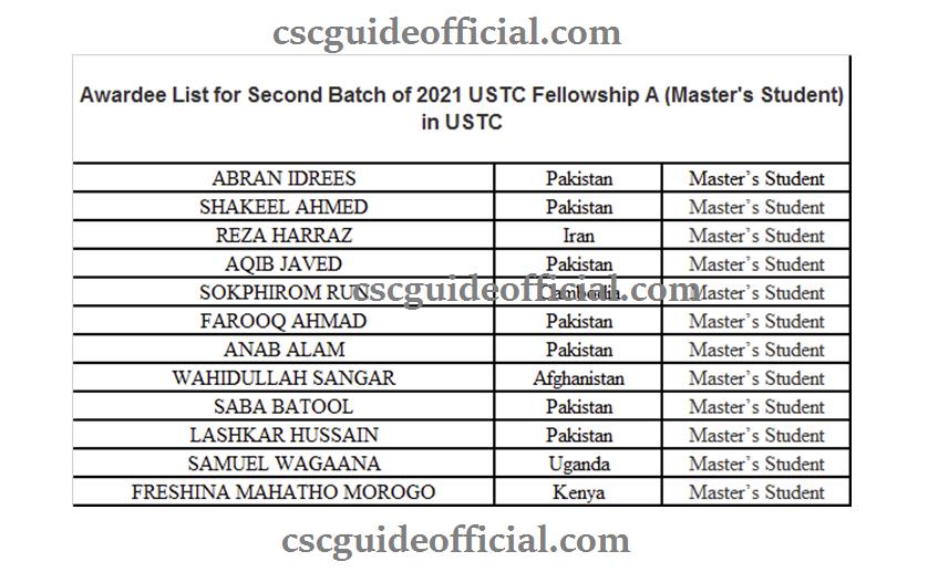 ustc scholarship result 2021-2022