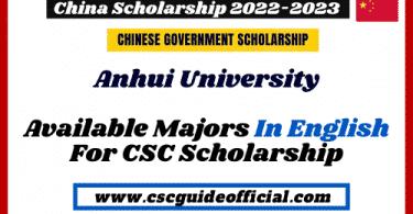 Anhui University CSC Scholarship available majors 2022-2023