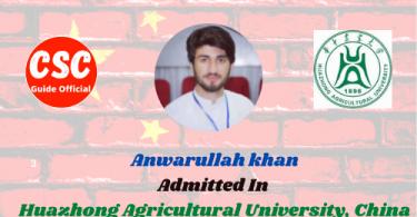 Anwarullah khan Master Scholar Anwarullah khan Huazhong Agricultural University, China csc guide official