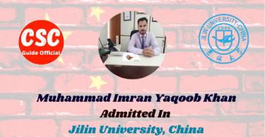 Muhammad Imran Yaqoob Khan Jilin university csc guide official