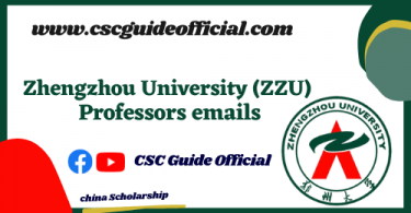 Zhengzhou University professors emails csc guide official